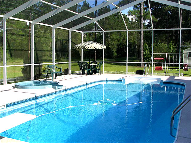 White Gable Hip Style Pool Enclosure