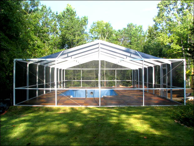White Free Standing Gable Hip Style Pool Enclosure