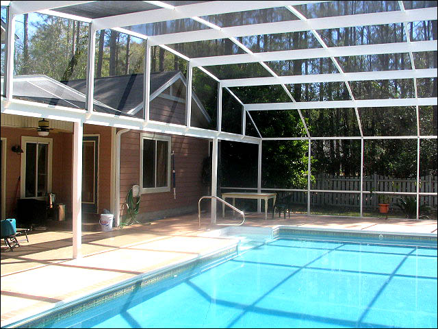 White Pool Enclosure Dome Roof Style